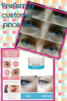 This eye cream is fantastic! Look at the before and after results. 60 day money back guarantee!