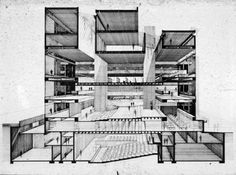 [Art and Architecture Building, Yale University, New Haven, Connecticut. Perspective section. 1964, Photograph of drawing]