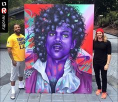 The Game with the painting he had made of Prince The Purple One after his passing 🌹 Beautiful 💜💜💜