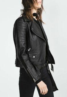 Black Oblique Zip PU Jacket | Lookbook Store