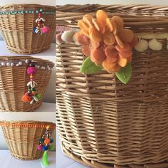 Fun new boho style bike baskets! #boho #bikebaskets #bicyclebaskets #bicycles
