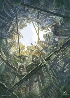 futuristic drawing landscape — http://www.awesome-robo.com/2012/04/futuristic-landscapes-of-kanehira.html?utm_source=feedburner_medium=feed_campaign=Feed%3A+AwesomeRobo+%28Awesome+Robo!%29