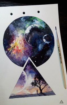 Universe cosmos geometry watercolor tattoo sketch by Andrey Lukyanov