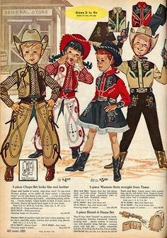 Cowboy and Cowgirl outfits from a 1963 Sears Christmas Catalog Cowboy Christmas, Christmas Past, Vintage Christmas, Country Christmas, Christmas Christmas, Mode Vintage, Vintage Ads, Vintage Images, Vintage Style
