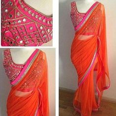 Looking for latest blouse designs 2018 collections? Let's have a look at simple blouse design trends for 2019 & blouse designs images are available. Blouse Back Neck Designs, Simple Blouse Designs, Sari Blouse Designs, Plain Kurti Designs, Blouse Patterns, Trendy Sarees, Stylish Sarees, Fancy Sarees, Plain Saree With Heavy Blouse