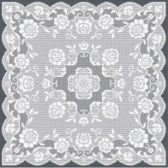 Filet Crochet Patterns, intricate tablecloths Stitches: open mesh, solid mesh, lacet stitch, rectangles, popcorn stitch, Patterns $9.80 Euro.