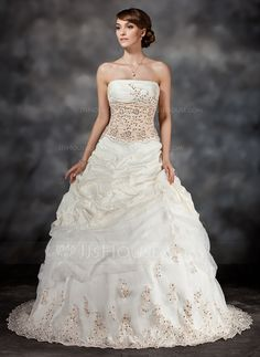 Ball-Gown Strapless Sweep Train Taffeta Organza Wedding Dress With Ruffle Lace Sequins (002017434)