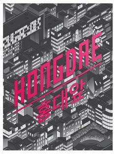 Isometric Hongdae (홍대앞) by Coen Pohl, via Behance