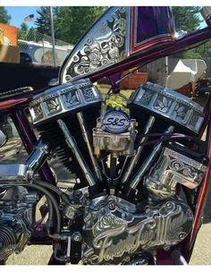Engraved Panhead Motor and Harley Davidson Sportster gas tank