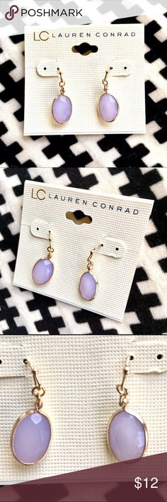 {LC Lauren Conrad} Drop earrings in wild orchid NWT. Gorgeous wild orchid color. LC Lauren Conrad Jewelry Earrings