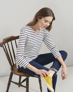 Buy Joules Harbour Notch Neck Jersey Top from the Next UK online shop Mens Rain Boots, Girls Rain Boots, Joules Clothing, Joules Uk, Striped Jersey, Blue Fashion, Women's Fashion, Navy Stripes, Outfit Sets