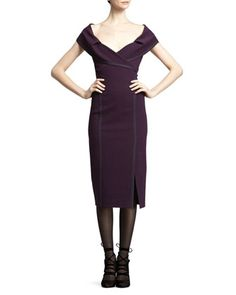 Off-The-Shoulder Crepe Dress, Purple by Donna Karan at Neiman Marcus.