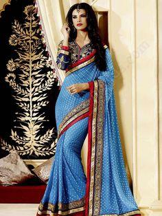 Небесно-голубое красивое индийское сари из креп-жоржета, украшенное вышивкой люрексом