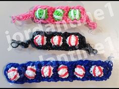 Rainbow Loom beaded BASEBALL Bracelet. Designed and loomed by jordantine1. Click photo for YouTube tutorial. 03/30/14