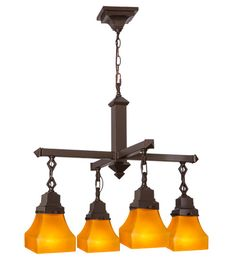 "26""W Bungalow Frosted Amber 4 Lt Mission Chandelier"