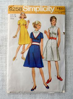 Simplicity 9258 vintage sewing pattern 1970s color block Mini Bust 34 career Mod space age A line dress seam interest Stewardess, etsy