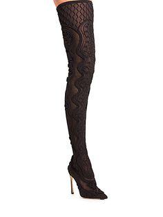 Sergio Rossi - Paris Satin Thigh Boots