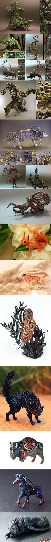 Handmade animal art pieces