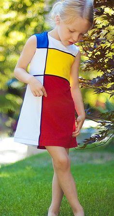 If I had a girl. Piet Mondrian, Mondrian Dress, Bauhaus, Elementary Art Rooms, Principles Of Art, Textiles, Kids Fashion, Women's Fashion, Marie