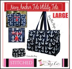 Tote, Large Nurses Tote, Teacher's Tote, Utility Tote, Monogrammed by StitchedInStyle1 on Etsy