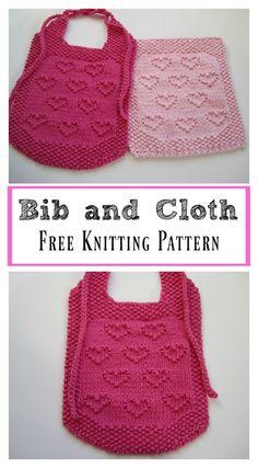 Sweet Heart Bib and Cloth Free Knitting Pattern – baby Baby Boy Knitting Patterns Free, Baby Clothes Patterns, Baby Hats Knitting, Crochet Baby Hats, Free Knitting, Finger Knitting, Knitting Machine, Knitted Baby, Hand Crochet