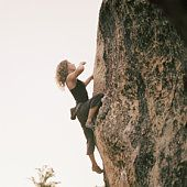 WOMAN CLIMBER LAKE TAHOE CALIFORNIA PHOTO @ ANNE-MARIE WEBER
