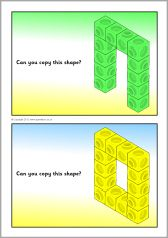 Connecting cube shapes prompt cards (single colour shapes) (SB8233) - SparkleBox