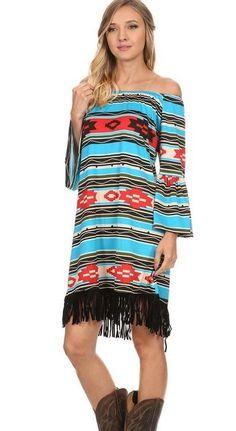 PLus Size Aztec Dress with fringe
