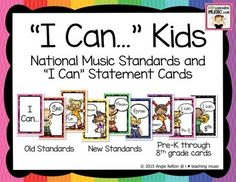 """""""I Can..."""" Kids - National Music Standards and """"I Can"""" Statement Cards"""