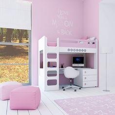 Cuna convertible moderna y de diseño en color rosa para niñas. Convertible en litera con cama alta y escritorio en la parte inferior. ¡Una solución ideal para las princesas de la casa!