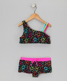 Look at this #zulilyfind! Black & Pink Julius Asymmetrical Bikini - Toddler & Girls #zulilyfinds