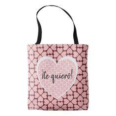 Te Quiero Pink Hearts Tote Bag - customizable diy