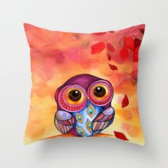 Owl's+First+Fall+Leaf+Throw+Pillow+by+Annya+Kai+-+$20.00