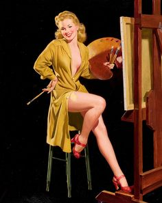 Not wearing much to begin with is certainly one way to avoid getting paint on your clothes :) #vintage #pinup #girl #art #artist #painter