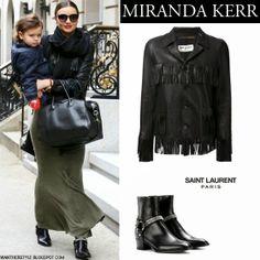 Miranda Kerr in black fringe leather jacket, maxi skirt, black ankle boots with black leather bag December 31 Want her Style #mirandakerr #fashion #style #streetstyle