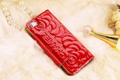 Chanel iPhone 6 Super Thin Rose Embossed Paten Leather Case Red Free Shipping - Deluxeiphone6case.com