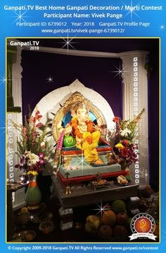 Vivek Pange Page on Ganpati.TV where all Ganpati festival decoration pictures and videos are shared. Decoration Pictures, Decorating With Pictures, Ganpati Picture, Ganpati Festival, Festival Decorations, Ganesh, Picture Video, Rocks, Traditional