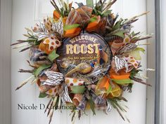 Fall Wreath Pheasant Wreath Front Door Wreath by NicoleDCreations