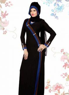 ready-made Black amina abaya in lycra with hijab