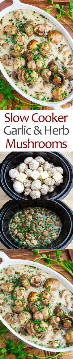 Slow Cooker Garlic Herb Mushrooms