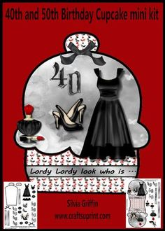 40th and 50th Ladies Birthday Cupcake mini kit on Craftsuprint - Add To Basket!