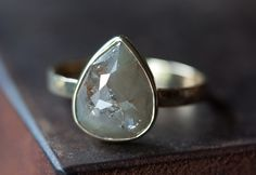 Silver-White Rose Cut Diamond Ring in 14kt Yellow Gold. $1,195.00, via Etsy.