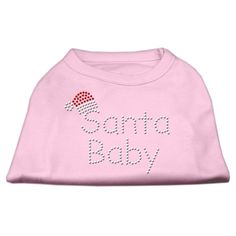 Mirage cat Products 8-Inch Santa Baby Rhinestone Print Shirt for cats, X-Small, Light Pink * Don't get left behind, see this great cat product : Cat Apparel