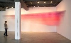 Drawn Pink is a stunning forty-foot installation by Kansas City based artist Anne Lindberg