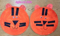T is for Tiger Paper Plate Craft & Tiger mask craft. Orange paper plate ears whiskers growl. When ...