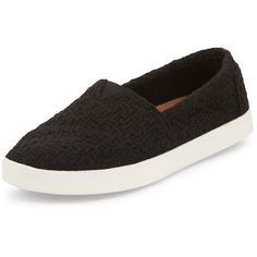 TOMS Avalon Boucle Slip-On ($62) ❤ liked on Polyvore featuring shoes, flats, black, slip on flats, slipon shoes, black shoes, flat slip on shoes and round toe flats