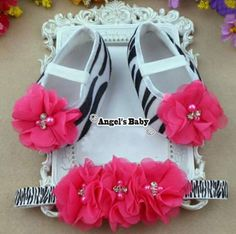 Angel's Baby Shoes/Headband Set in Zebra
