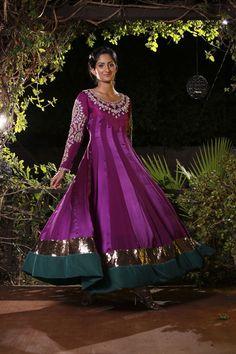 Purple Anarkali suit available at www.anoshasfashionstudio.com
