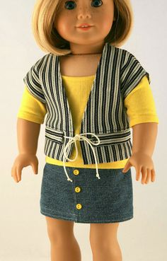 American Girl Doll Clothes - Striped Drawstring Vest, Yellow Tee, and Jean Skirt Sewing Doll Clothes, Sewing Dolls, Girl Doll Clothes, Doll Clothes Patterns, Clothing Patterns, Girl Dolls, Doll Patterns, Ag Dolls, American Girl Dress