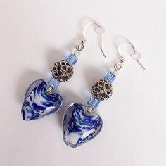 Blue & White Heart Beaded Drop Dangling Earrings, Casual Drop Dangle Earrings Earings by EverydayWomenJewelry on Etsy #beadedEarrings #heartEarrings #blueEarrings